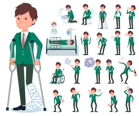 A set of school boy with injury and illness.There are actions that express dependence and death.It's vector art so it's easy to edit. Banque d'images - 115136598