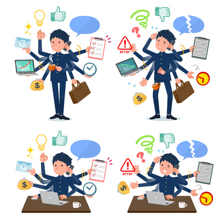 A set of school boy who perform multitasking in the office.There are things to do smoothly and a pattern that is in a panic.Its vector art so its easy to edit.
