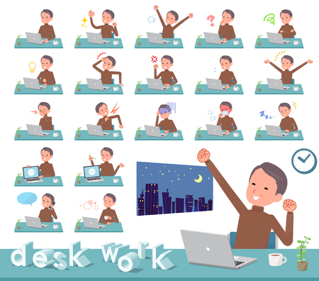 A set of middle Age man on desk work.There are various actions such as feelings and fatigue.Its vector art so its easy to edit.