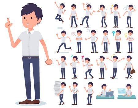 A set of businessman with who express various emotions.There are actions related to workplaces and personal computers.It's vector art so it's easy to edit. Banque d'images - 115136609