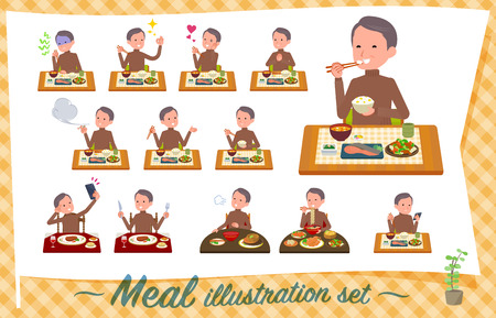 A set of middle Age man about meals.Japanese and Chinese cuisine, Western style dishes and so on.Its vector art so its easy to edit.  イラスト・ベクター素材