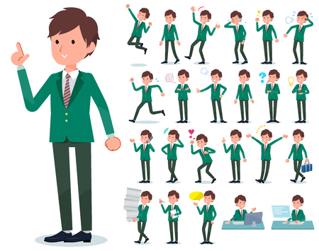 A set of school boy with who express various emotions.There are actions related to workplaces and personal computers.Its vector art so its easy to edit.