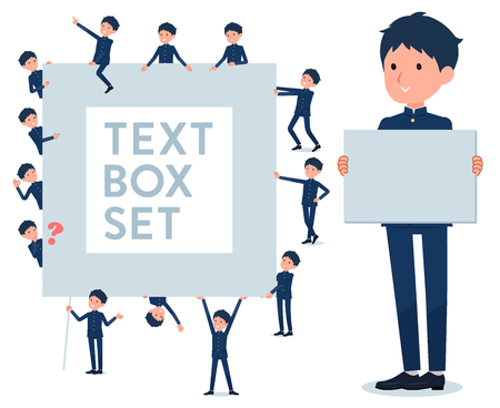A set of school boy with a message board.Since each is divided, you can move it freely.Its vector art so its easy to edit. Иллюстрация