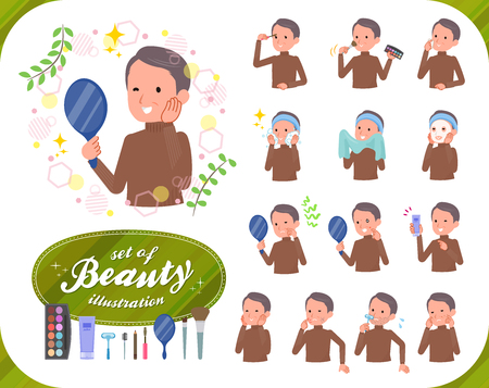 A set of middle Age man on beauty.There are various actions such as skin care and makeup.It's vector art so it's easy to edit.