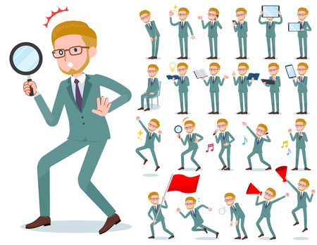 A set of businessman with digital equipment such as smartphones.There are actions that express emotions.It's vector art so it's easy to edit.