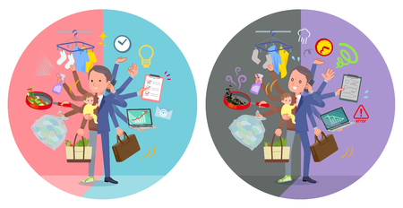 A set of middle Age man who perform multitasking in offices and private.There are things to do smoothly and a pattern that is in a panic.It's vector art so it's easy to edit.