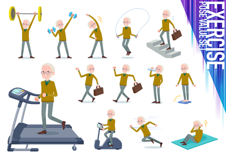 A set of old man on exercise and sports.There are various actions to move the body healthy.It's vector art so it's easy to edit.