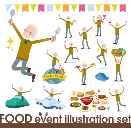 A set of old man on food events.There are actions that have a fork and a spoon and are having fun.It's vector art so it's easy to edit.
