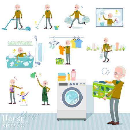 A set of old man related to housekeeping such as cleaning and laundry.There are various actions such as child rearing.It's vector art so it's easy to edit.