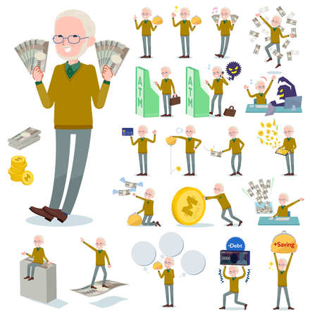 A set of old man with concerning money and economy.There are also actions on success and failure.It's vector art so it's easy to edit.