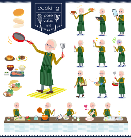 A set of old man about cooking.There are actions that are cooking in various ways in the kitchen.It's vector art so it's easy to edit.