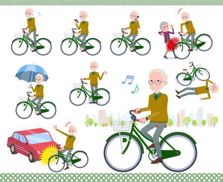 A set of old man riding a city cycle.There are actions on manners and troubles.It's vector art so it's easy to edit.  イラスト・ベクター素材
