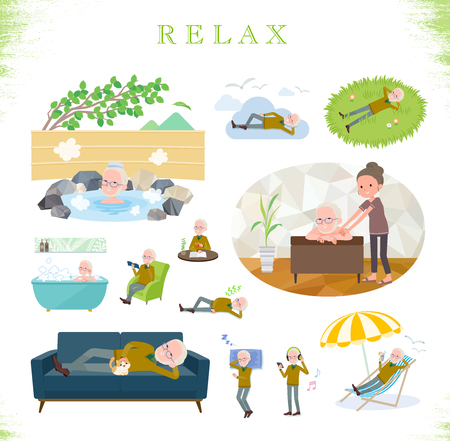 A set of old man about relaxing.There are actions such as vacation and stress relief.Its vector art so its easy to edit.