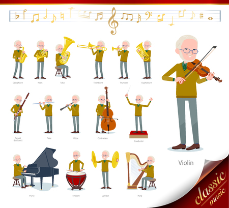 A set of old man on classical music performances.There are actions to play various instruments such as string instruments and wind instruments.Its vector art so its easy to edit.
