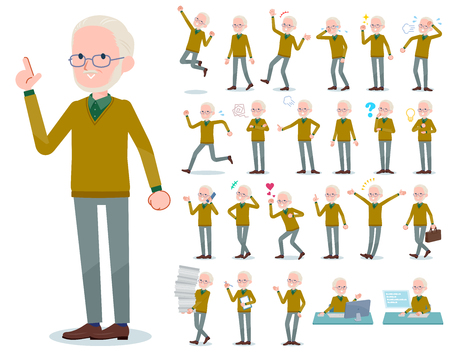 A set of old man with who express various emotions.There are actions related to workplaces and personal computers.Its vector art so its easy to edit.