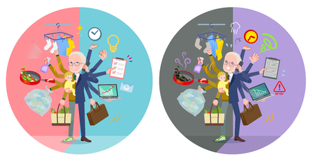 A set of old man who perform multitasking in offices and private.There are things to do smoothly and a pattern that is in a panic.It's vector art so it's easy to edit.
