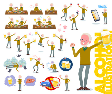 A set of old man related to alcohol.There is a lively appearance and action that expresses failure about alcohol.It's vector art so it's easy to edit.  イラスト・ベクター素材