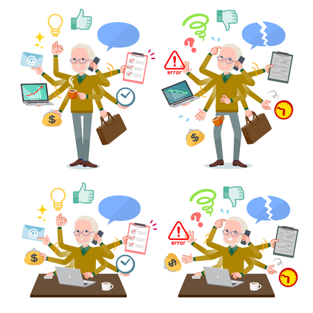 A set of old man who perform multitasking in the office.There are things to do smoothly and a pattern that is in a panic.Its vector art so its easy to edit. 일러스트