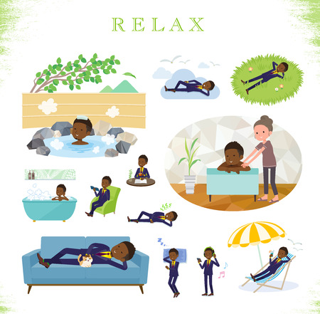 A set of African American businessman about relaxing.There are actions such as vacation and stress relief.It's vector art so it's easy to edit.