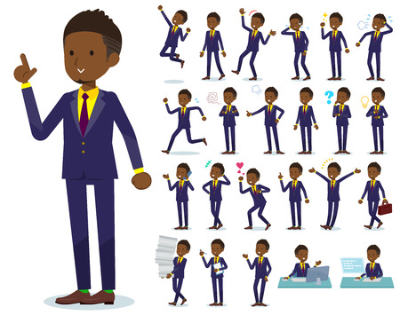 A set of African American businessman with who express various emotions.There are actions related to workplaces and personal computers.It's vector art so it's easy to edit. Banque d'images - 115136930