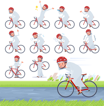 A set of Arabian man on a road bike.There is an action that is enjoying.Its vector art so its easy to edit.