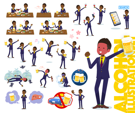 A set of African American businessman related to alcohol.There is a lively appearance and action that expresses failure about alcohol.It's vector art so it's easy to edit.