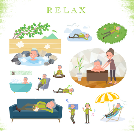 A set of old man about relaxing.There are actions such as vacation and stress relief.It's vector art so it's easy to edit.