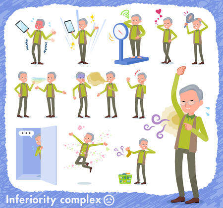 A set of old man on inferiority complex.There are actions suffering from smell and appearance.It's vector art so it's easy to edit.