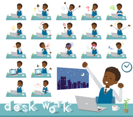 A set of school boy on desk work.There are various actions such as feelings and fatigue.It's vector art so it's easy to edit. Illustration