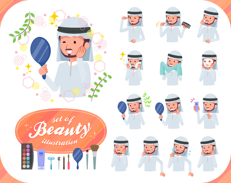A set of Arabian man on beauty.There are various actions such as skin care and makeup.Its vector art so its easy to edit. Ilustração