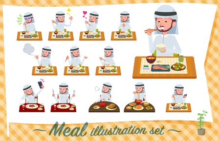 A set of Arabian man about meals.Japanese and Chinese cuisine, Western style dishes and so on.Its vector art so its easy to edit. Иллюстрация