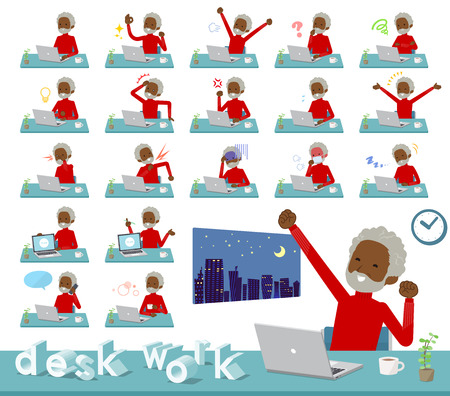 A set of old man on desk work.There are various actions such as feelings and fatigue.Its vector art so its easy to edit.