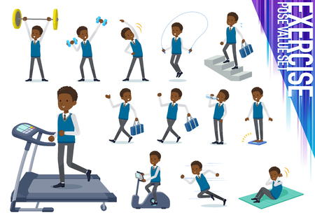 A set of school boy on exercise and sports.There are various actions to move the body healthy.Its vector art so its easy to edit. Illustration