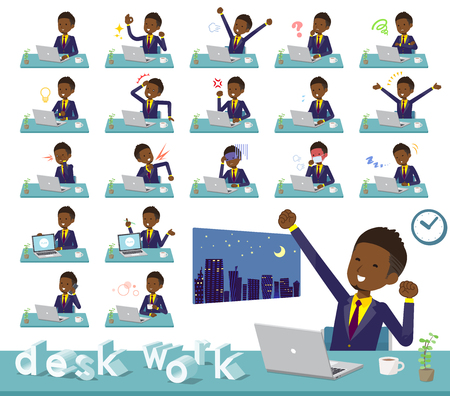 A set of African American businessman on desk work.There are various actions such as feelings and fatigue.Its vector art so its easy to edit.