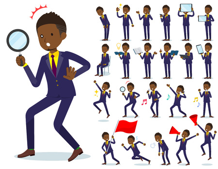 A set of African American businessman with digital equipment such as smartphones.There are actions that express emotions.It's vector art so it's easy to edit.