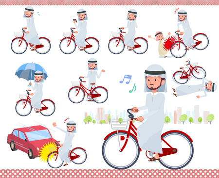 A set of Arabian man riding a city cycle.There are actions on manners and troubles.Its vector art so its easy to edit. Illustration