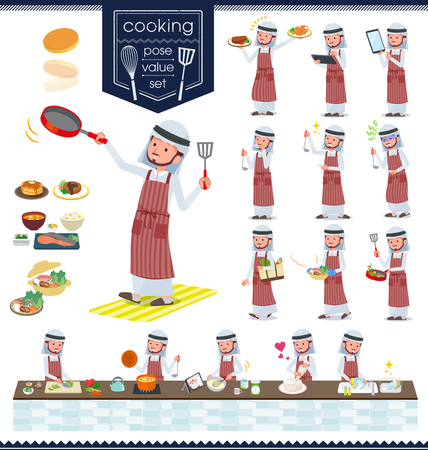 A set of Arabian man about cooking.There are actions that are cooking in various ways in the kitchen.Its vector art so its easy to edit.  イラスト・ベクター素材