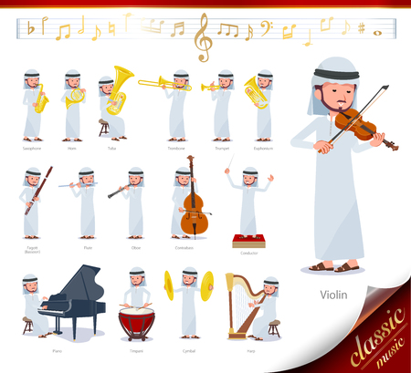 A set of Arabian man on classical music performances.There are actions to play various instruments such as string instruments and wind instruments.It's vector art so it's easy to edit.