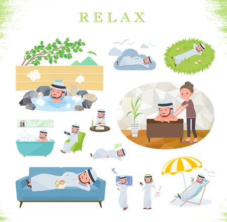 A set of Arabian man about relaxing.There are actions such as vacation and stress relief.Its vector art so its easy to edit.