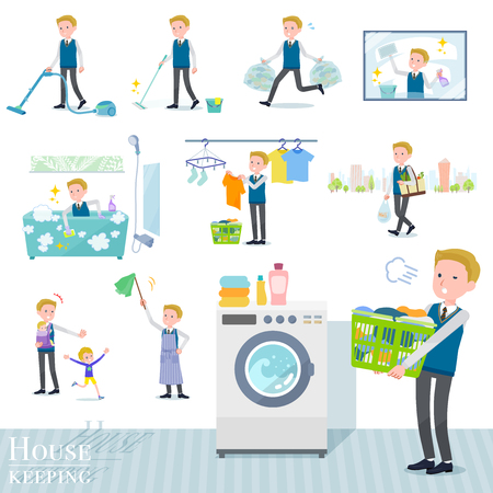 A set of school boy related to housekeeping such as cleaning and laundry.There are various actions such as child rearing.It's vector art so it's easy to edit. Illustration