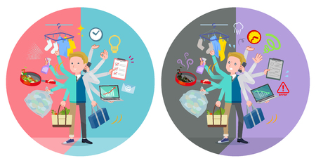 A set of school boy who perform multitasking in offices and private.There are things to do smoothly and a pattern that is in a panic.It's vector art so it's easy to edit.