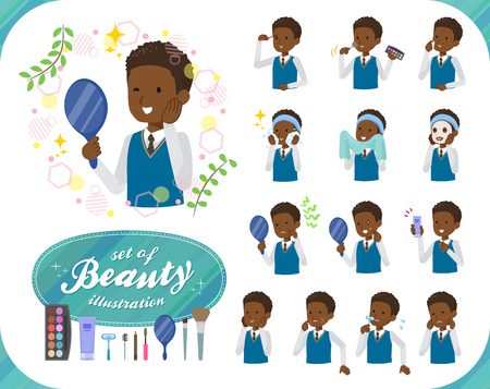 A set of school boy on beauty.There are various actions such as skin care and makeup.It's vector art so it's easy to edit.