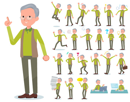 A set of old man with who express various emotions.There are actions related to workplaces and personal computers.It's vector art so it's easy to edit.