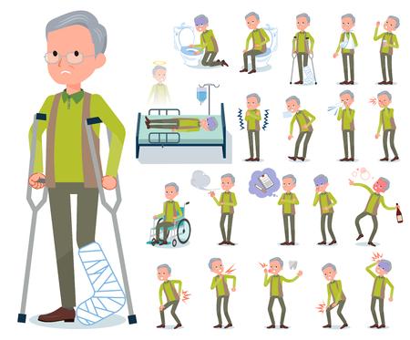 Ein Satz alter Mann mit Verletzung und Krankheit. Es gibt Aktionen, die Abhängigkeit und Tod ausdrücken. Es handelt sich um Vektorgrafiken, die leicht zu bearbeiten sind.