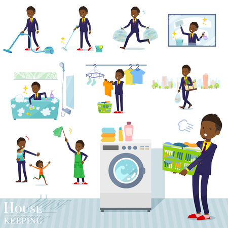 A set of African American businessman related to housekeeping such as cleaning and laundry.There are various actions such as child rearing.Its vector art so its easy to edit. Иллюстрация