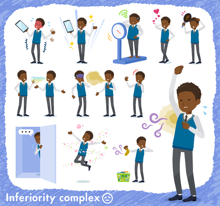 A set of school boy on inferiority complex.There are actions suffering from smell and appearance.It's vector art so it's easy to edit. Stok Fotoğraf - 124040926