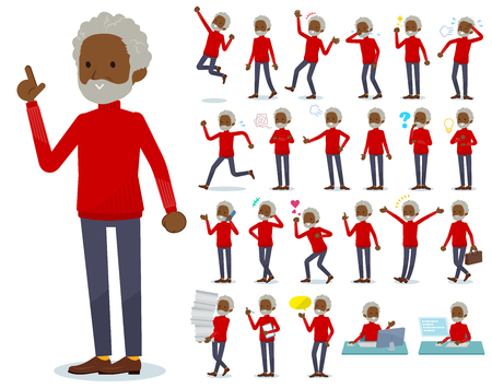 A set of old man with who express various emotions.There are actions related to workplaces and personal computers.It's vector art so it's easy to edit. Banque d'images - 115137126