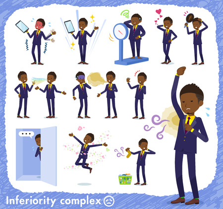 A set of African American businessman on inferiority complex.There are actions suffering from smell and appearance.It's vector art so it's easy to edit.