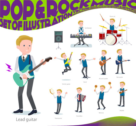 A set of school boy playing rock 'n' roll and pop music.There are also various instruments such as ukulele and tambourine.It's vector art so it's easy to edit.