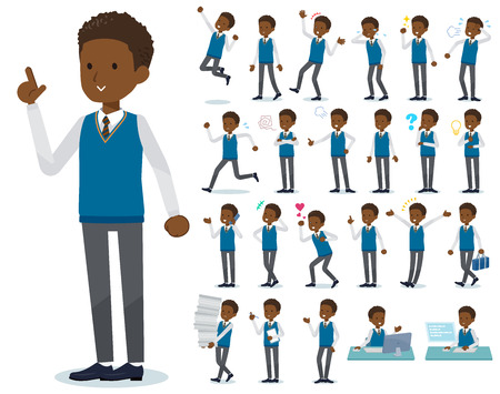 A set of school boy with who express various emotions.There are actions related to workplaces and personal computers.It's vector art so it's easy to edit. Stock Illustratie